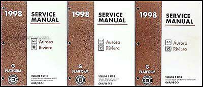 free service manuals online 1998 oldsmobile regency parking system 1998 olds aurora and buick riviera shop manual set 98 oldsmobile repair service ebay