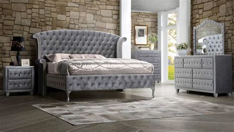 velvet bedroom furniture deanna grey velvet queen platform bedroom set 20510q