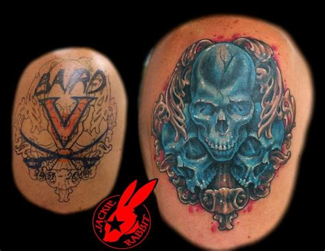 skull cover up tattoo blue skull cover up by jackie rabbit by