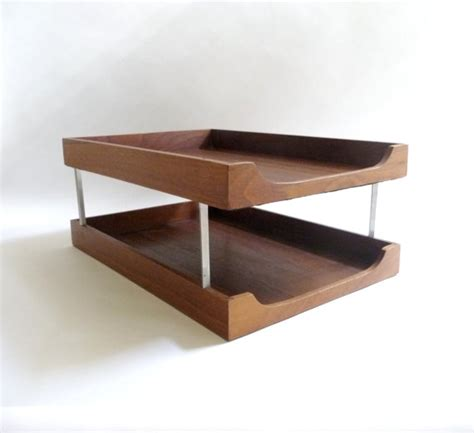 Desk Letter Trays by Mid Century Modern Wood And Metal Letter Tray Desk Organizer