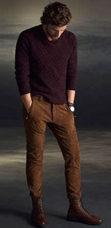 mens fashion tucked into boots s camel and burgundy sweater tucked into boots