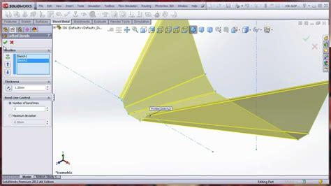 lofted sheet metal solidworks solidworks lofted with bend lines