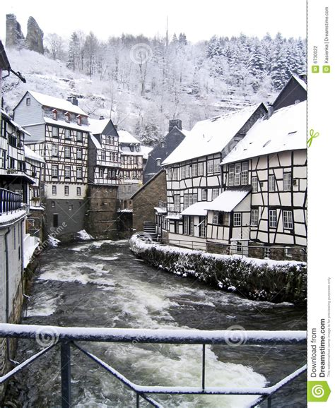 Small European House Plans city snow winter monschau germany stock photography