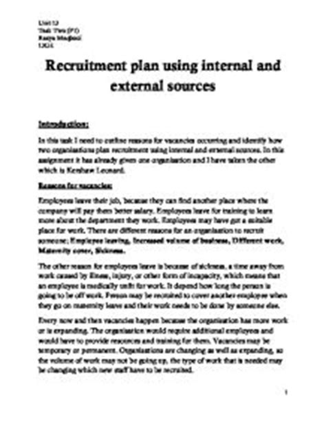 sle business plan recruitment agency identify how two organisations plan recruitment using