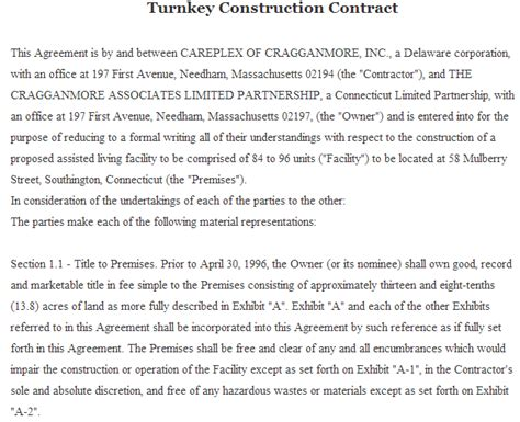 turnkey contract template 15 best free sle contract templates sle templates