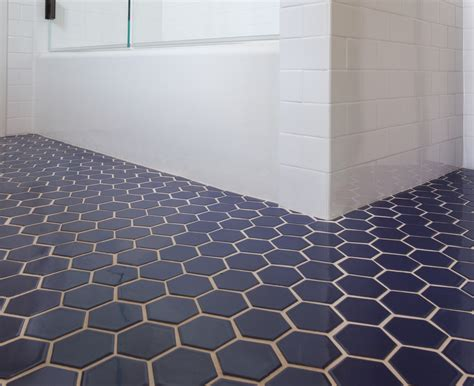 blue floor tile bathroom fireclay tile navy blue hex tile bathroom pinterest