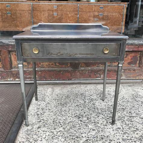 vintage brushed steel vanity desk by bel geddes for