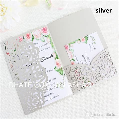 Rose Wedding Invitation Card Silver Ivory Tri Fold Pocket