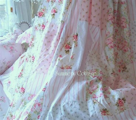 Cottage Shower Curtains Chenille Shower Curtain Shabby White Chenille Blue Cottage Chic Pink Roses