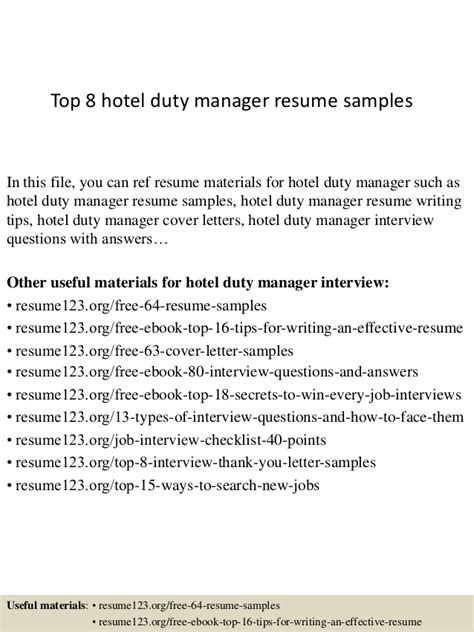 Resume Hotel Duty Manager by Top 8 Hotel Duty Manager Resume Sles