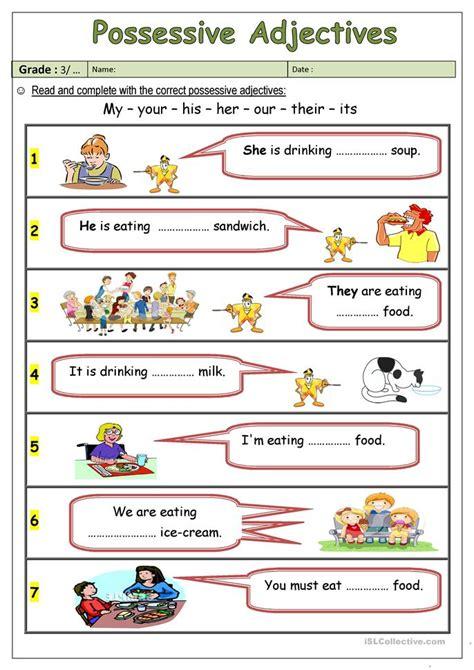 Possessive Adjectives Worksheet by 28 Adjectives Worksheets For Esl Beginners 145 Free