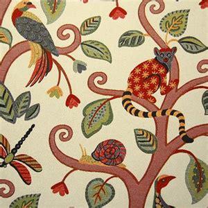Monkey Upholstery Fabric by Marakay 338 Jungle Woven Floral Monkey Upholstery