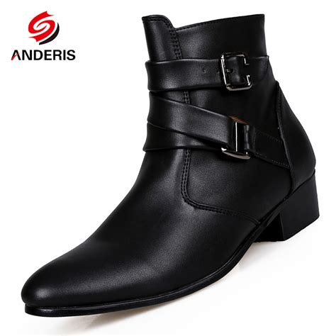 mens motorcycle style boots 2016 new men s ankle boots male fashion buckle pointed toe
