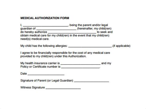 13 Medical Authorization Forms To Download Sle Templates Medication Authorization Form Template