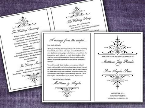 half fold wedding program template half fold wedding program template