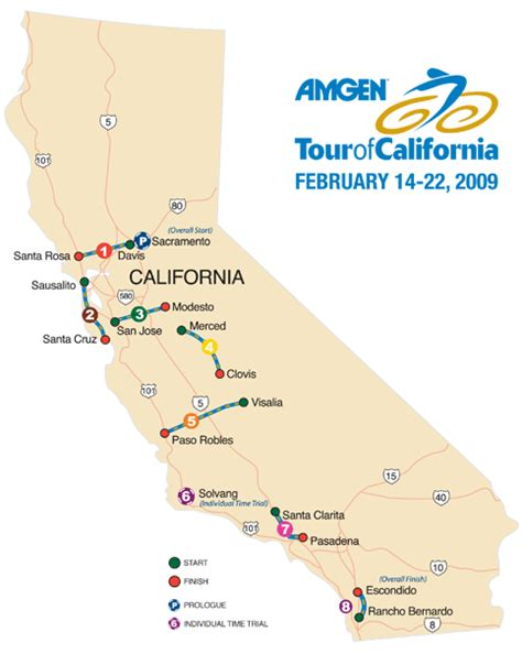 tour of california map 2009 amgen tour of california route preview