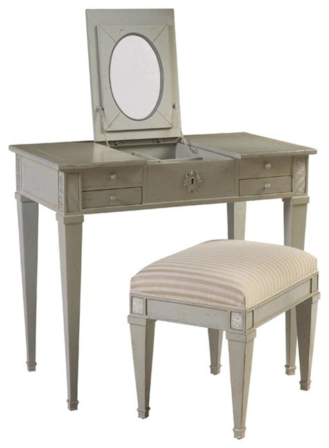 Grey Bedroom Vanity Heritage Aubin Vanity And Stool Gray Traditional