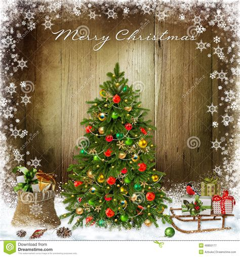 christmas greeting background  christmas tree