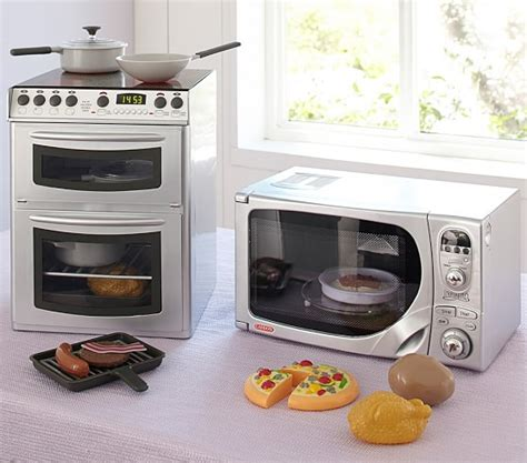 kids play kitchen appliances chrome mini kitchen appliances pottery barn kids