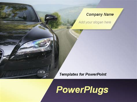 Black Car On The Highway Animated Powerpoint Template Background Of Auto Automobile Car Powerpoint Template Automotive