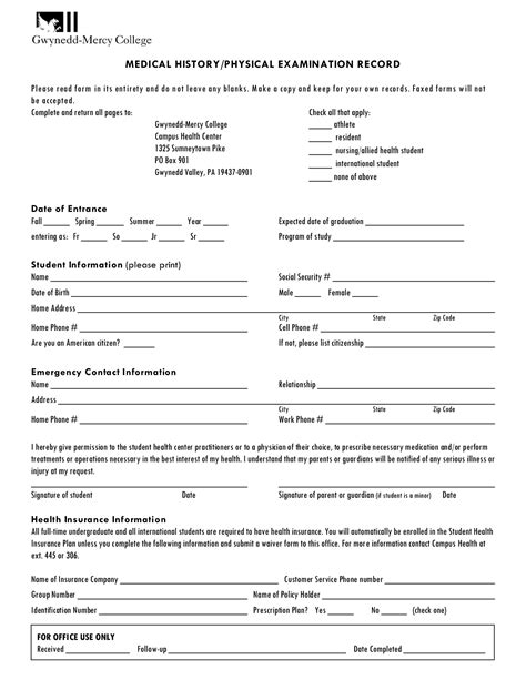 printable physical exam forms bing images