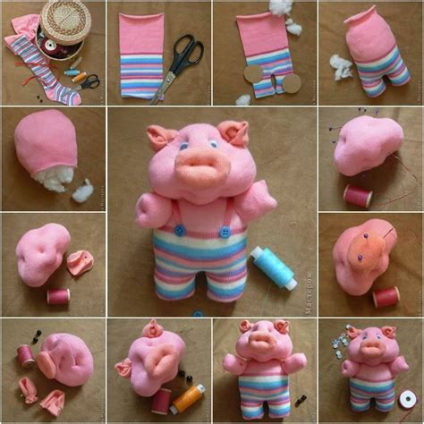 How To Make Handmade Soft Toys - diy craft project piglet using a pair of socks find