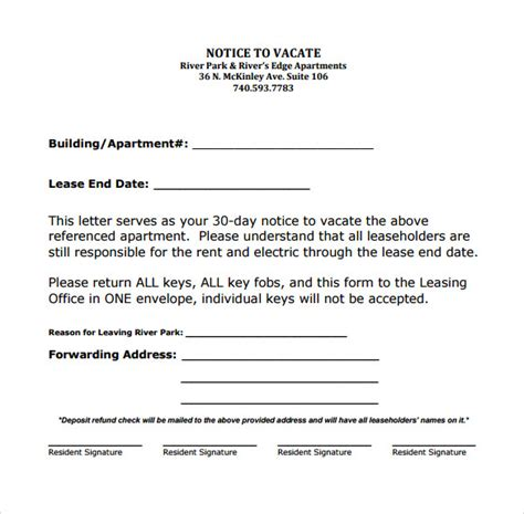 60 day notice to vacate template 60 day notice to vacate apartment letter template