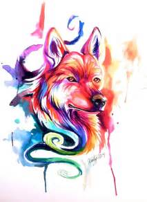 colorful wolf colorful watercolor wolfdog by lucky978 on deviantart