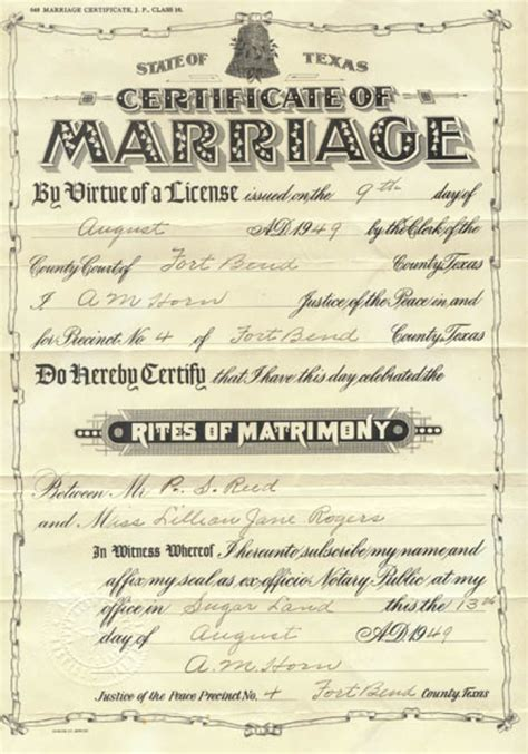 El Paso County Marriage License Records Marriage Certificate Issued August 9 1949 In Fort Bend County To P S Reed Sequence 1