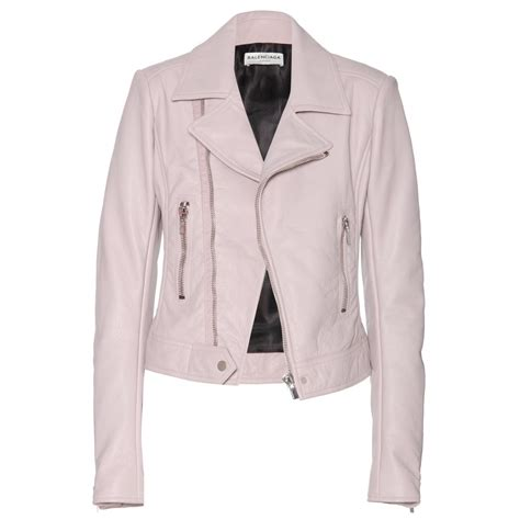 pink leather motorcycle jacket balenciaga leather biker jacket pale mauve pink my