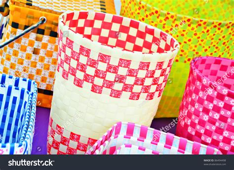 craft work for home decoration various color plastic basket home decoration stock photo