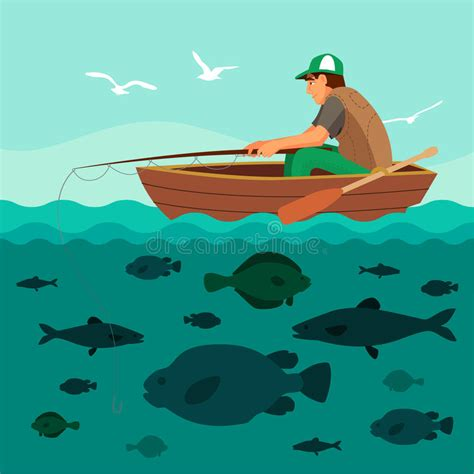 fishing boat clipart illustrations man fishing on the boat lots of fish stock vector