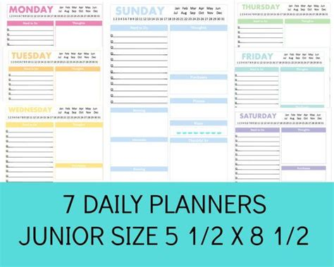 free printable planner pages half size half size planner pages daily schedule template pdf