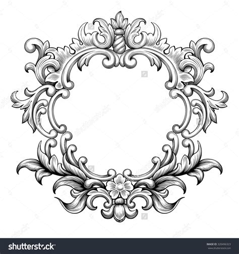 baroque pattern frame vintage baroque frame border leaf scroll floral ornament