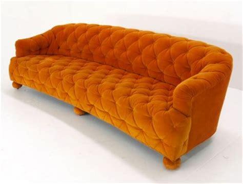 orange tufted sofa mid century modern tufted orange velvet sofa