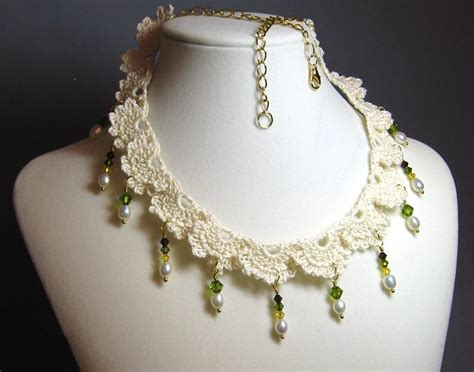 how to make crochet jewelry with crochet lace necklace with by cchant craftsy