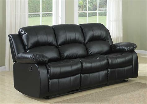Homelegance Cranley Double Reclining Sofa Black Bonded Black Reclining Leather Sofa