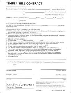 Timber Sale Contract Sle Timber Sale Contract Template