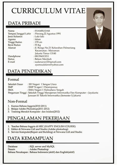 cara membuat cv indonesia contoh daftar riwayat hidup curriculum vitae cv