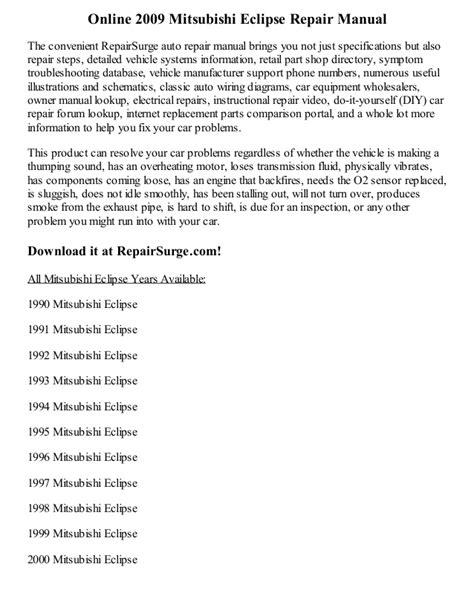 online car repair manuals free 2012 mitsubishi eclipse lane departure warning 2009 mitsubishi eclipse repair manual online
