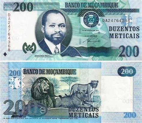 Mozambique - 200 Meticais 2011 (# 146) - N V M V S M And T Bank Hours