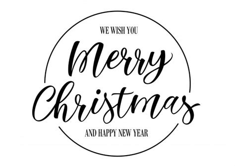 merry christmas lettering  circle vector