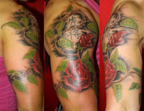 half sleeve rose tattoo sleeve design