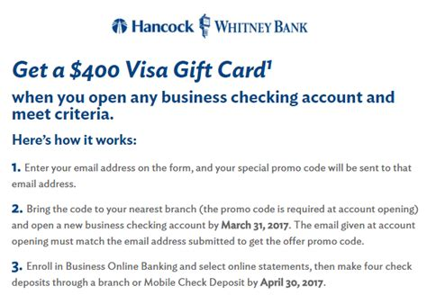 Deposit Visa Gift Card Into Bank - la ms fl al tx hancock whitney 400 visa gift card business checking bonus