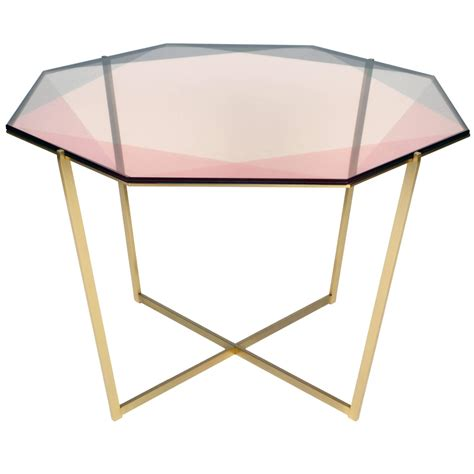 gem octagonal dining table pink brass for sale at 1stdibs