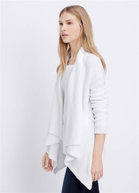 white drape cardigan vince cotton drape front cardigan in white lyst