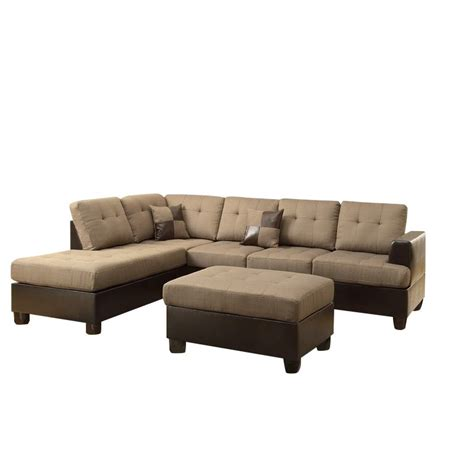 reversible sectional couch poundex bobkona winden 3 piece reversible sectional sofa