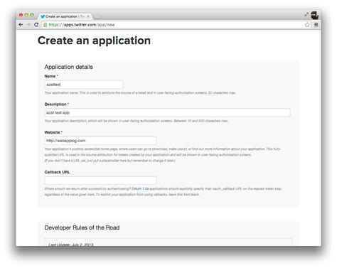 design javascript application figure 1 4 create a twitter application webapplog