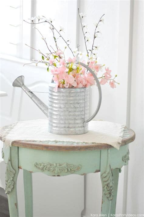 Kara's Party Ideas Spring Watering Can Floral Centerpiece