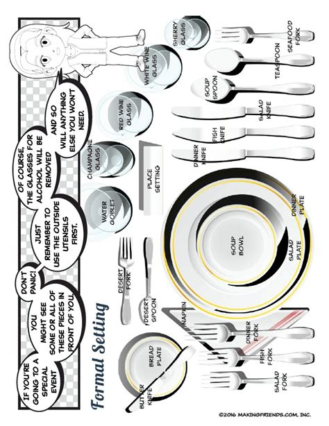 formal dinner place setting printable formal dinner place setting